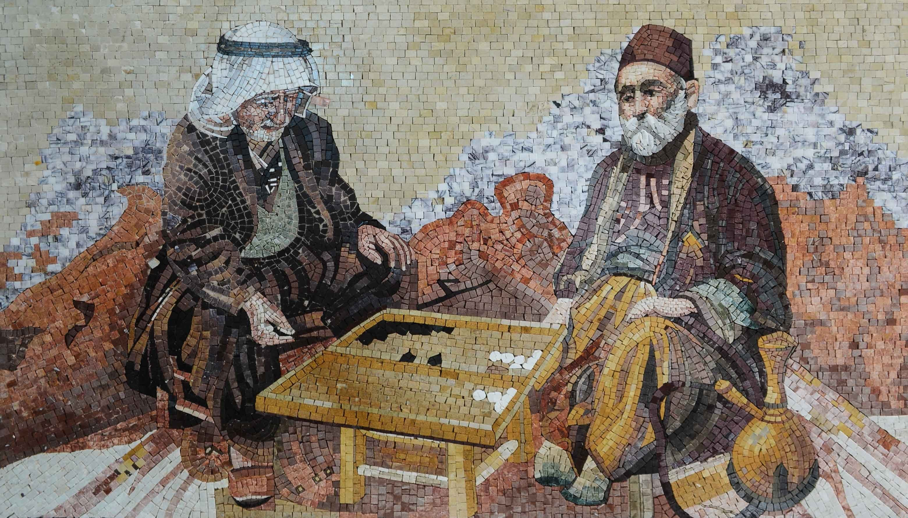 Playing Backgammon Marble Mosaic Mural Pic