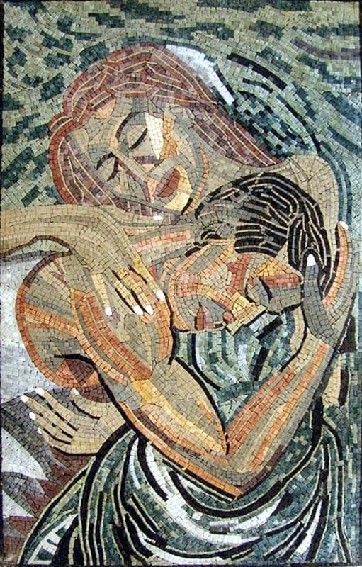 Embracing Lovers Stone Mosaic Mural Pic