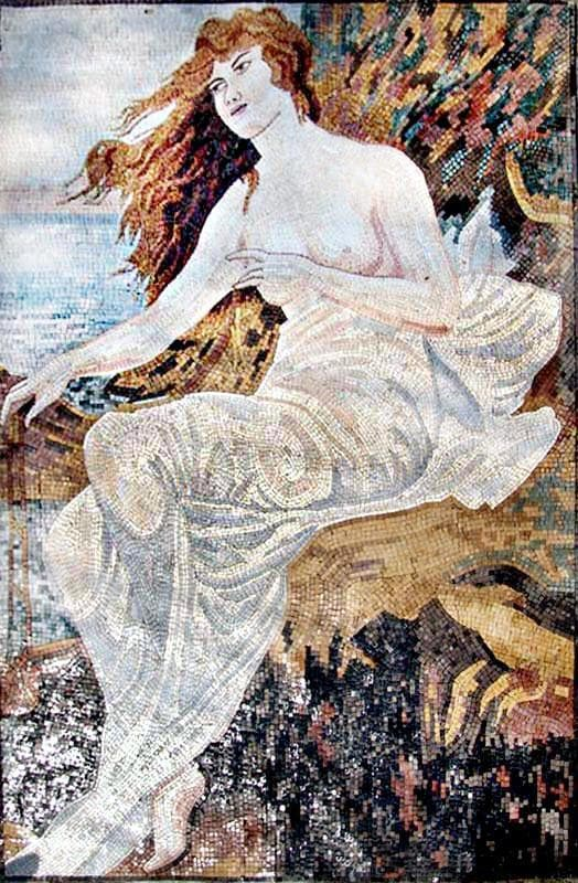 "Alphonse Mucha Mermaids n' Mucha"" - Mosaic Reproduction """