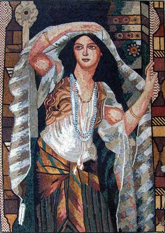 Woman With A Veil Marble Mosaic Mural Pic