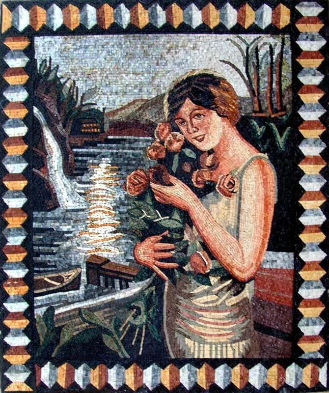 Mosaic Art Mermaid And Florals Pic