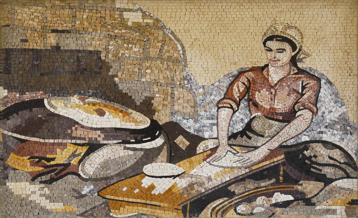 Traditional Woman Making Saj Bread Marble Mosaic Mural