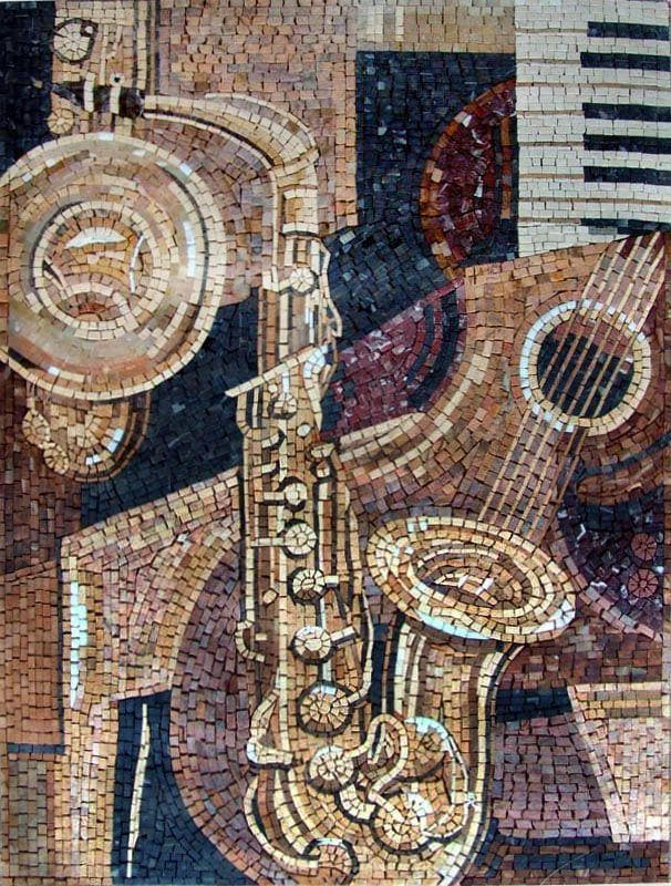 Marble Mosaic Mural - Musical Instruments