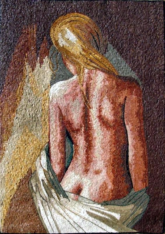 Naked Woman Mosaic Mural Art