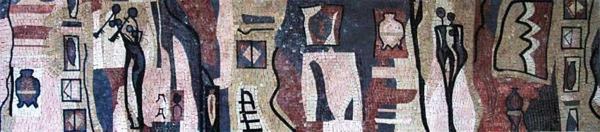 Contemporary Art Mosaic Silhouette Figures Pic