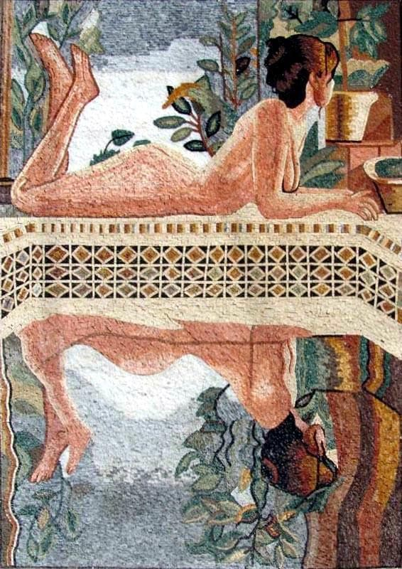 Nude On A Swimming Pool Marble Mosaic Tiles Pic