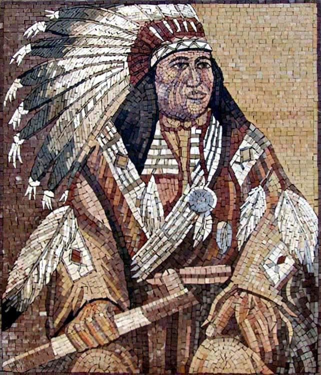 Red Indian Chief  Native American Mosaics