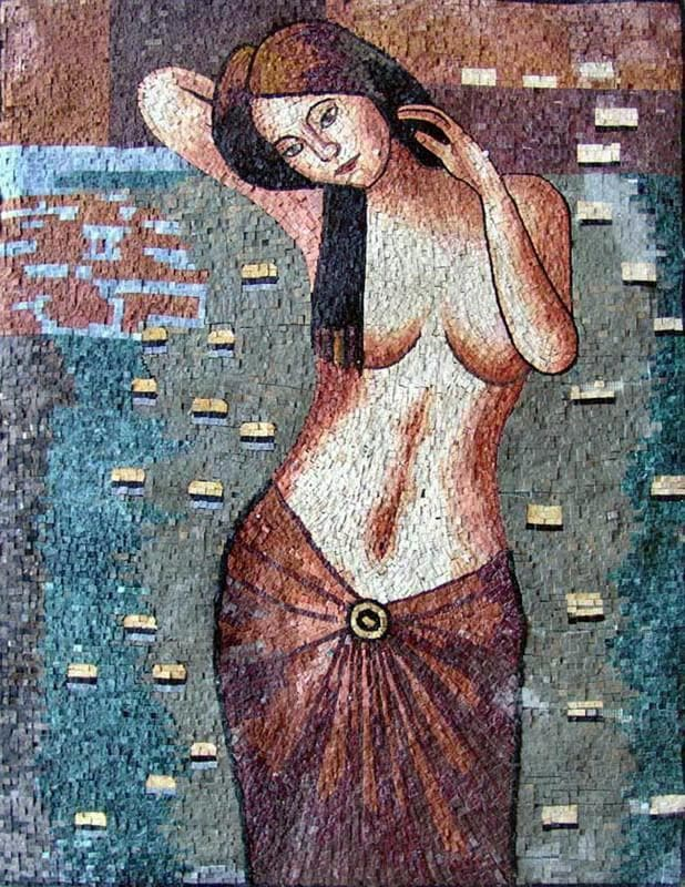 Woman In A Lake Of Lotus Flowers Mosaic Pic