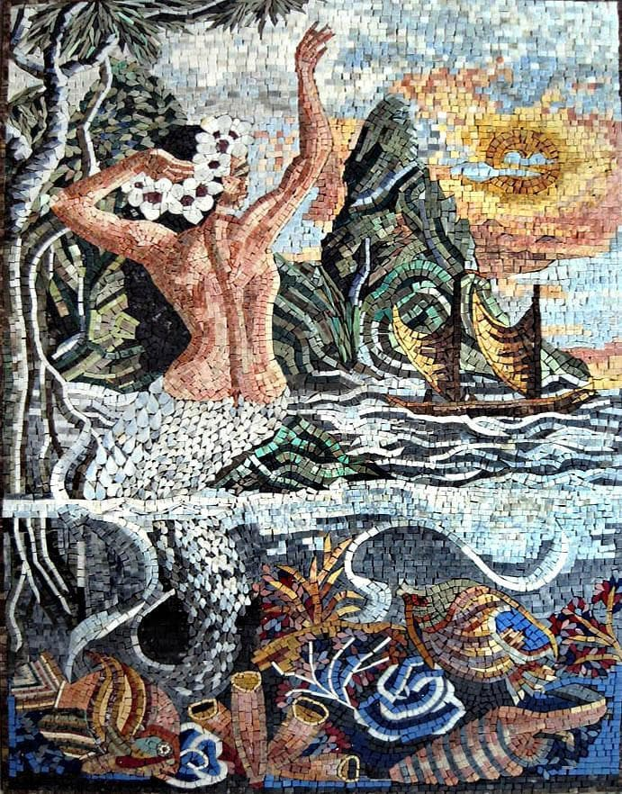 Mermaid Scene Mosaic Mural