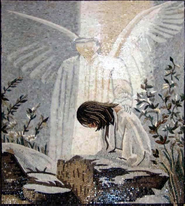 Jesus and Angel Marble mosaic