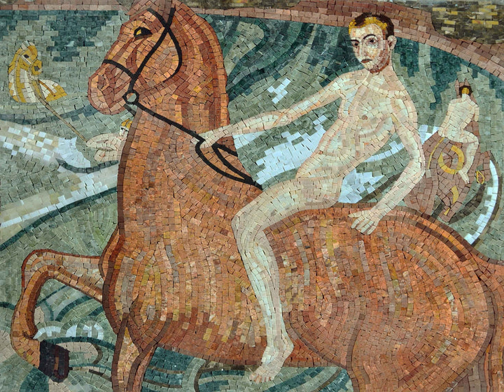 "Kuzma Vodkin Bath Of The Red Horse"" - Mosaic Reproduction """