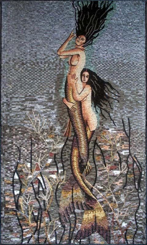 Brunette Mermaids Mosaic