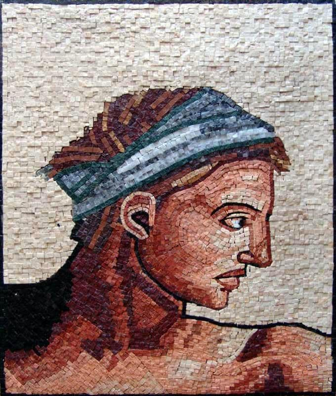 "Michelangelo Self Portrait"" - Mosaic Reproduction """