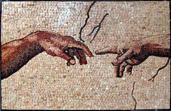 "Michelangelo Creation of Adam"" - Mosaic Reproduction """