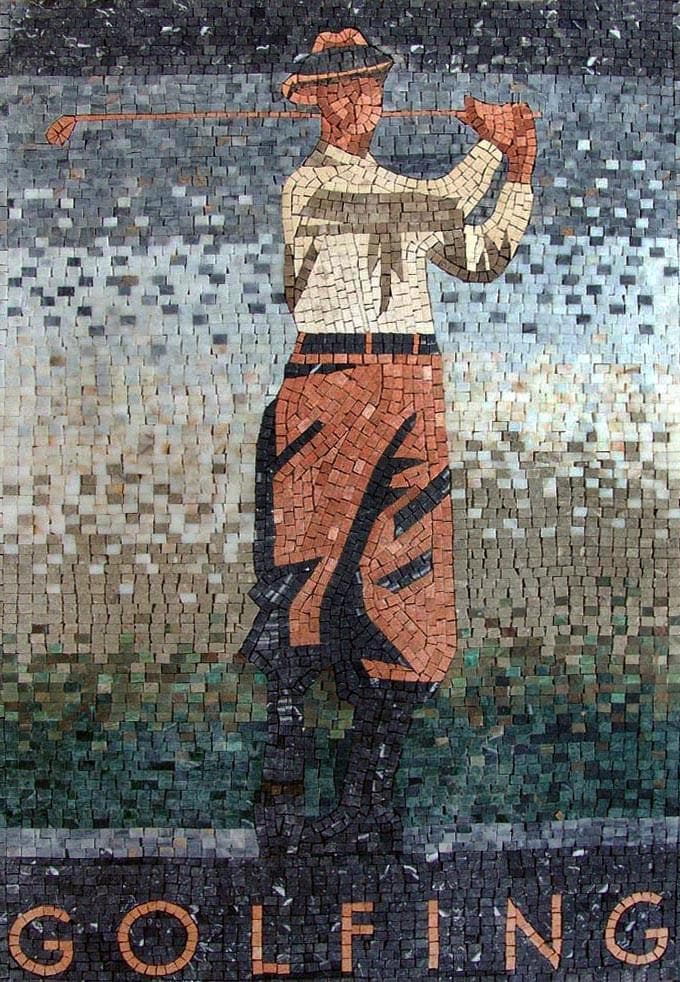 Golf Player Mosaic Mural Pic
