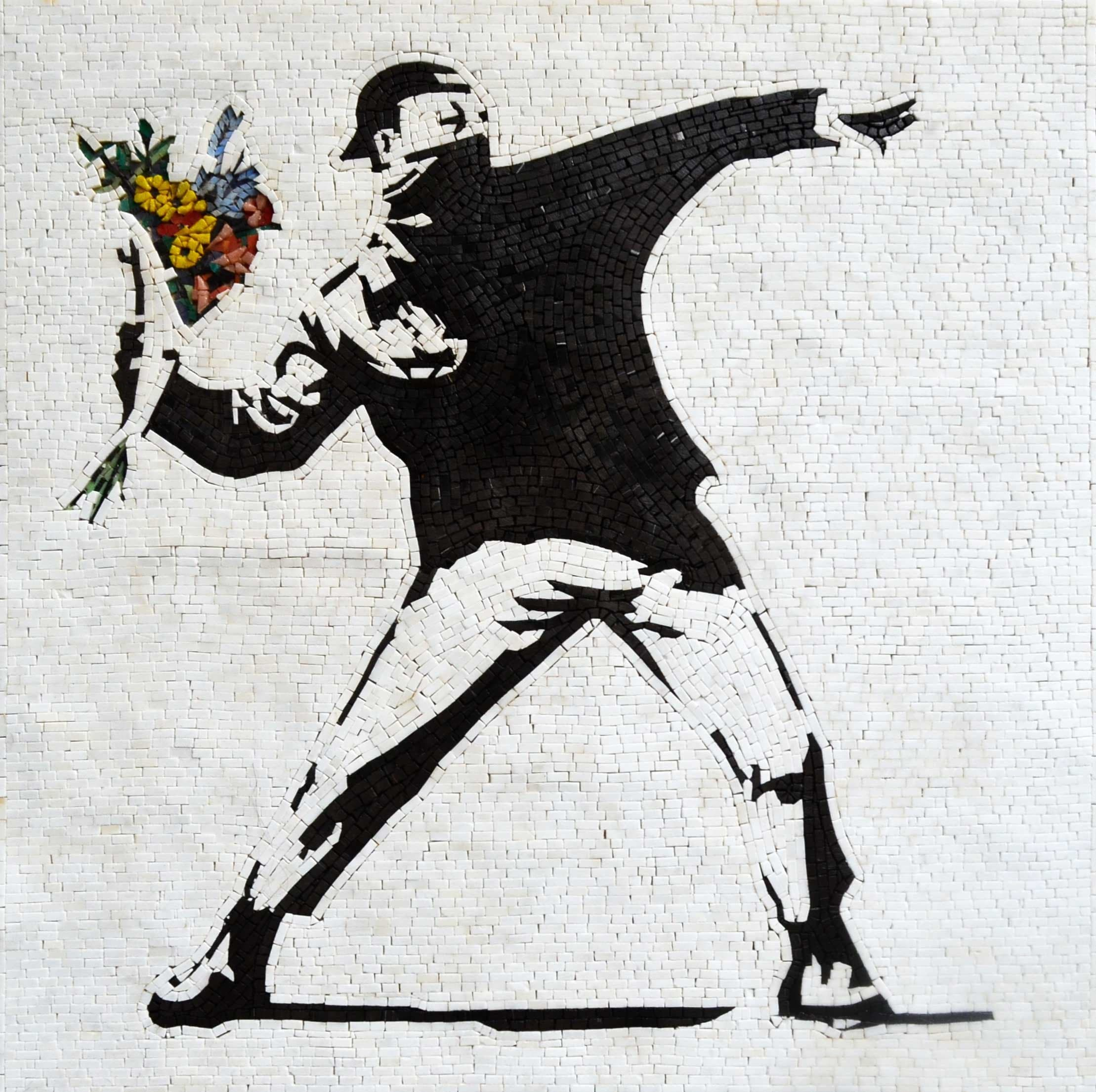 Banksy The Flower Thrower Mosaic Pic