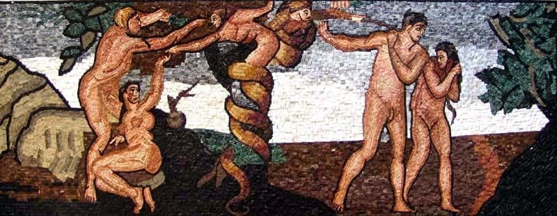 Mosaic Art Fall Of Man And Expulsion From Paradise Pic