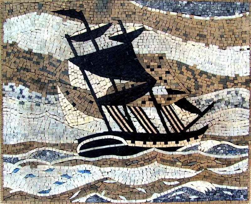 Ship Sailing in the Sea Mosaic