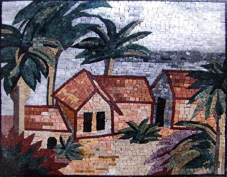 Houses And Palm Trees Marble Mosaic Pic