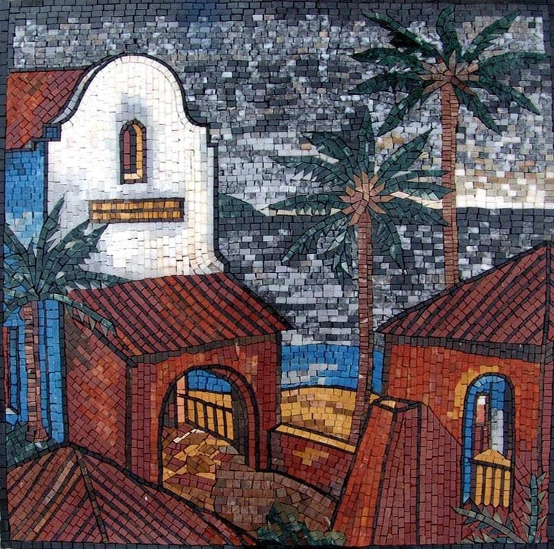 Beach Houses And Palm Trees Marble Mosaic Pic