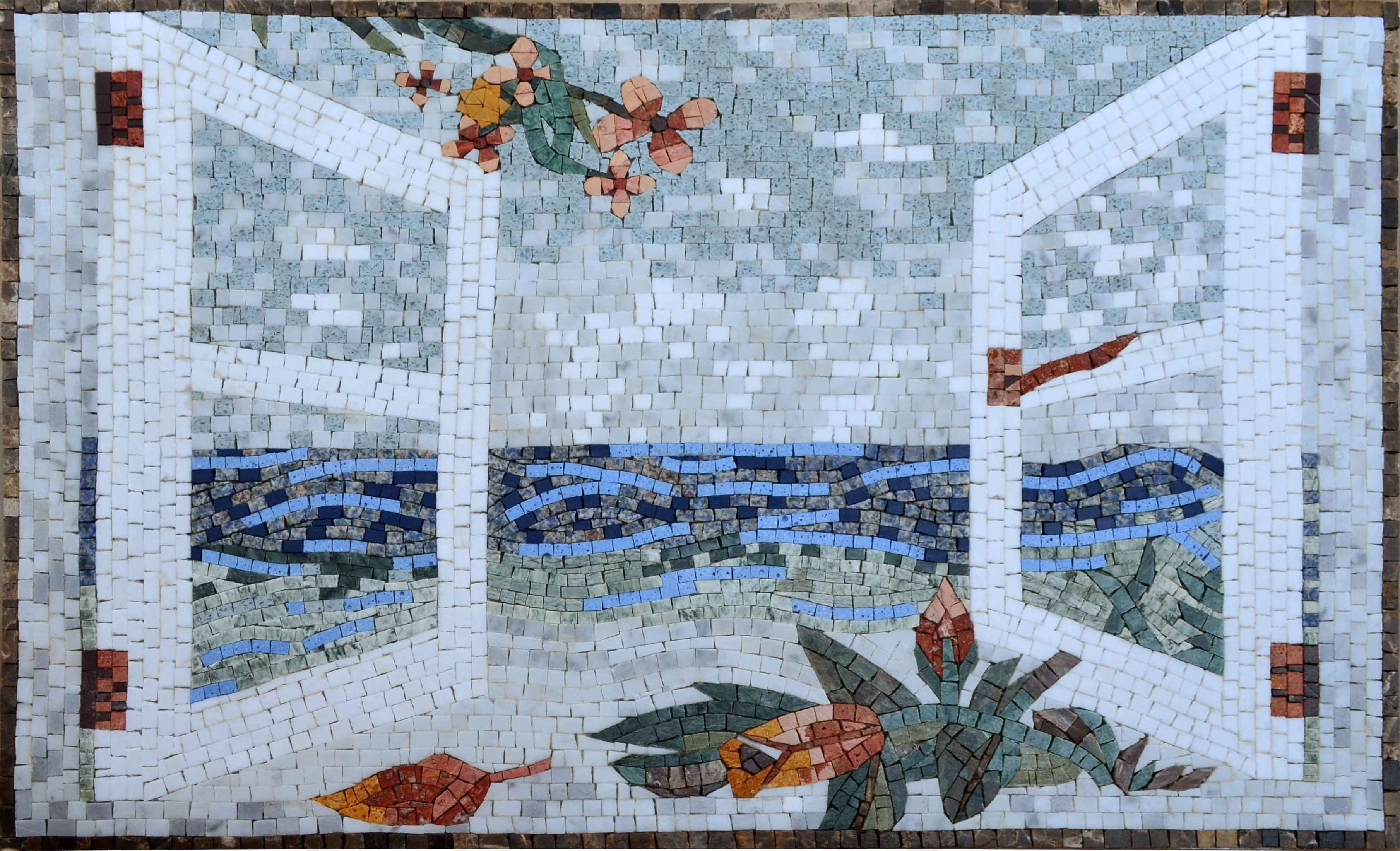 Mosaic Wall Art Balcony Scenery Pic