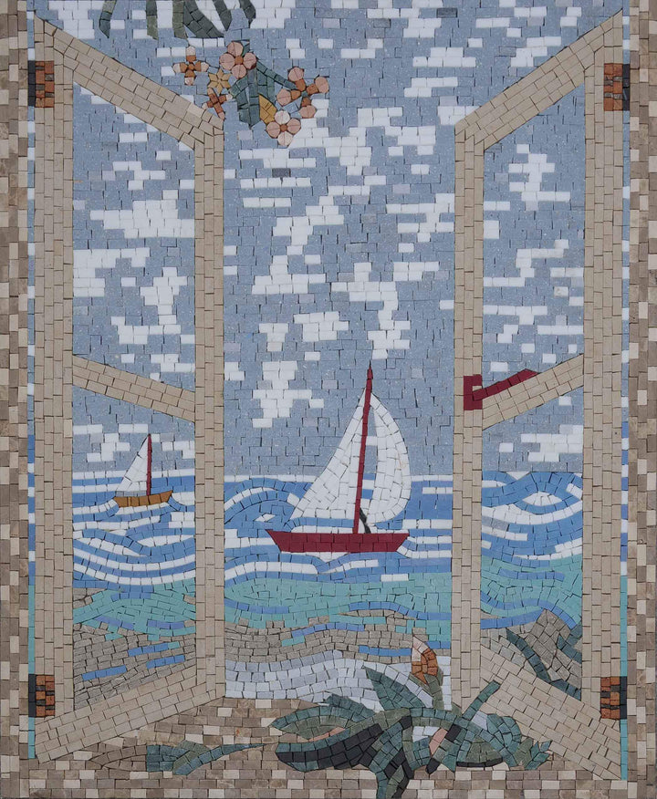 Sailing Balcony View - Mosaic Art