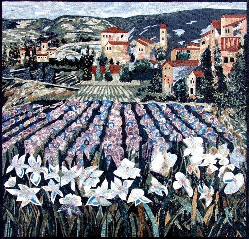The Violet Flower Tuscan Mosaic Mural Art Pic