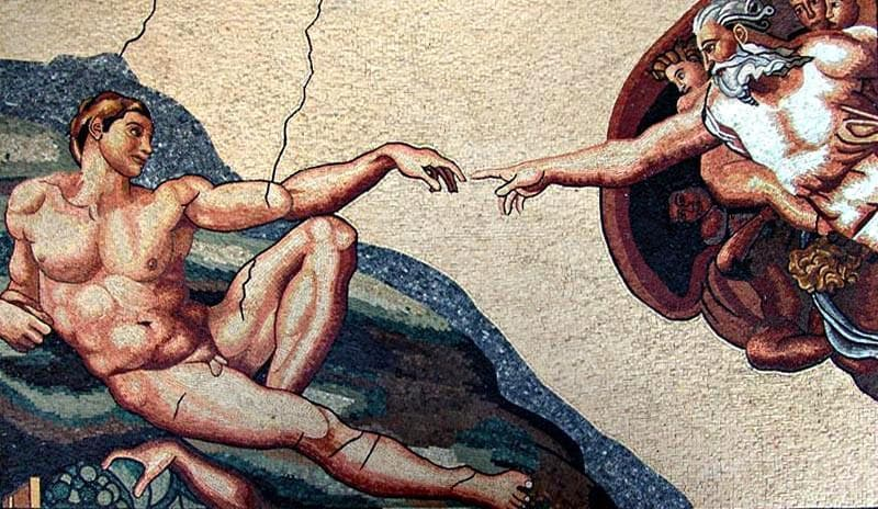 "Michelangelo Creation of Adam"" - Mosaic Art Reproduction"