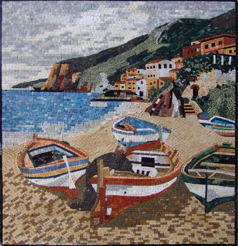 Seascape And Colorful Boats Art Mosaic Pic