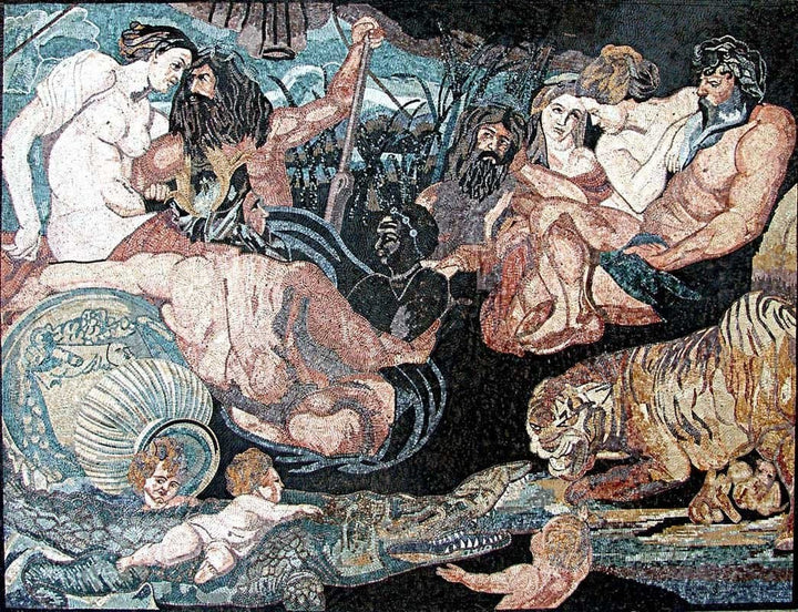 "Mosaic Reproduction - The Four Continents of Peter Paul Rubens""   """