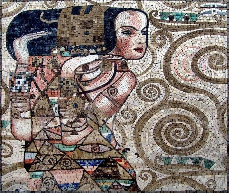 Gustav Klimt Expectation Mosaic Reproduction Pic