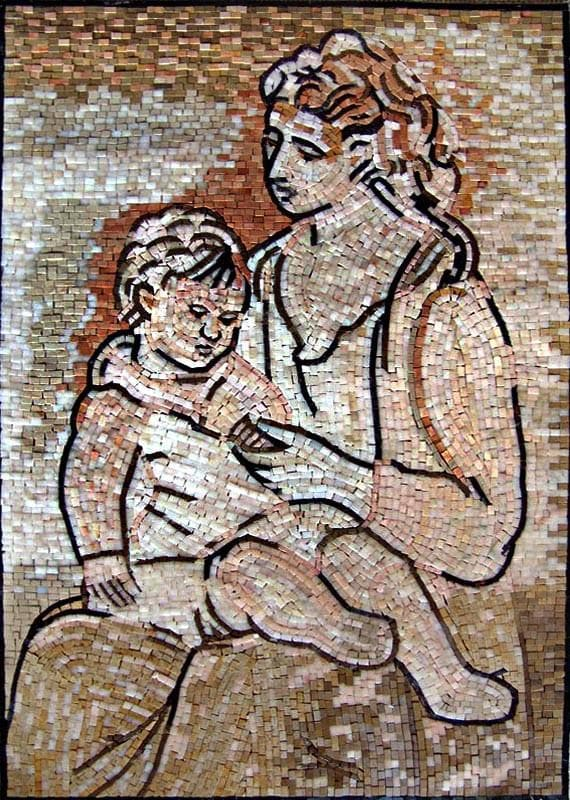 "Pablo Picasso Mother and Child"" - Mosaic Reproduction"""
