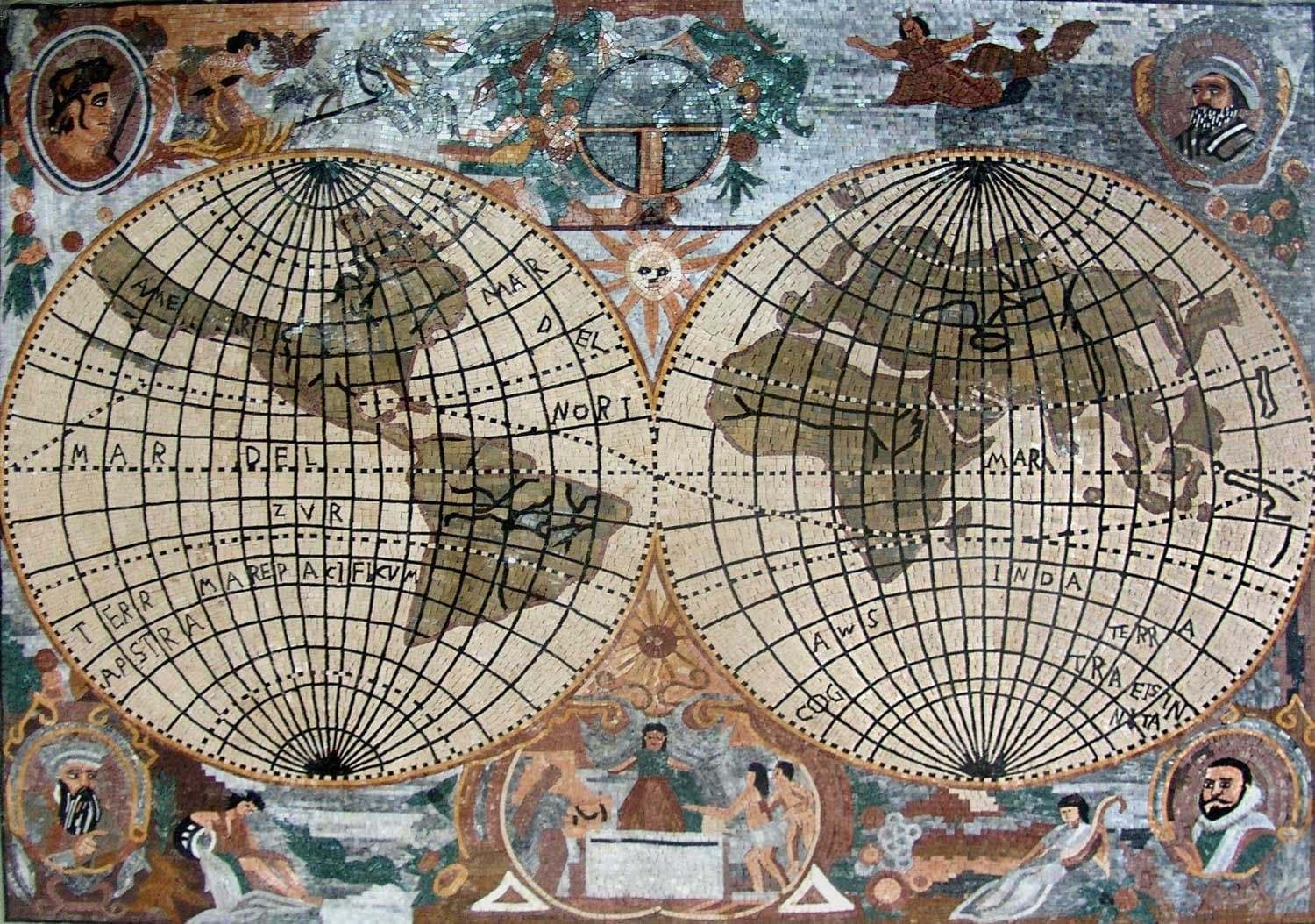 Old World Map Mosaic Marble Pic
