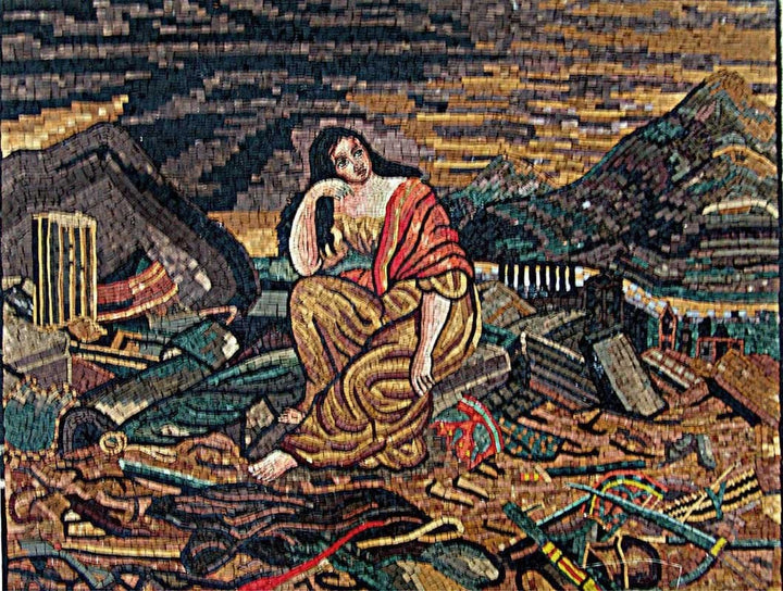 Figurative Mosaic Handmade Lady In chaos