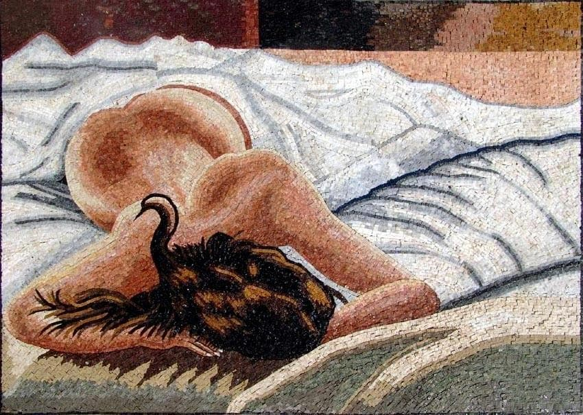 Sleeping Woman Marble Mosaic Mural Pic