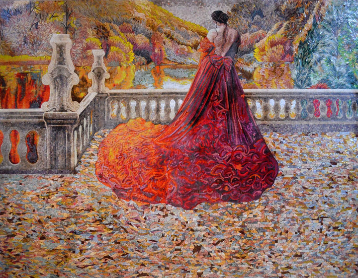 Female Figure Colorful Mosaic Autumn Leaves