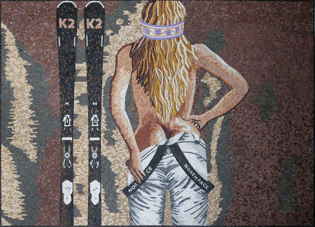 Seductive Blonde Skier - Mosaic Art