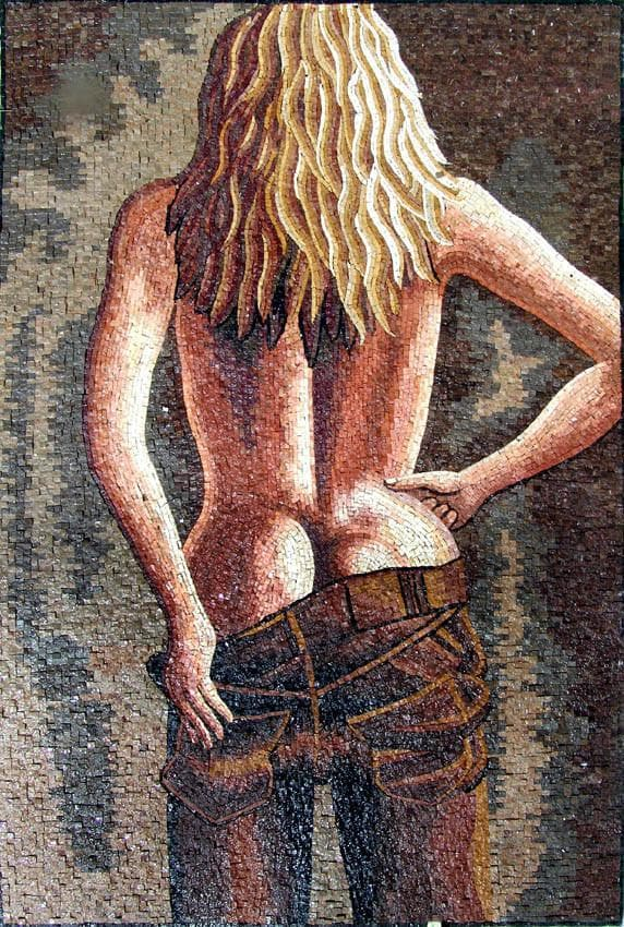 Seductive Nude Blonde Mosaic Design