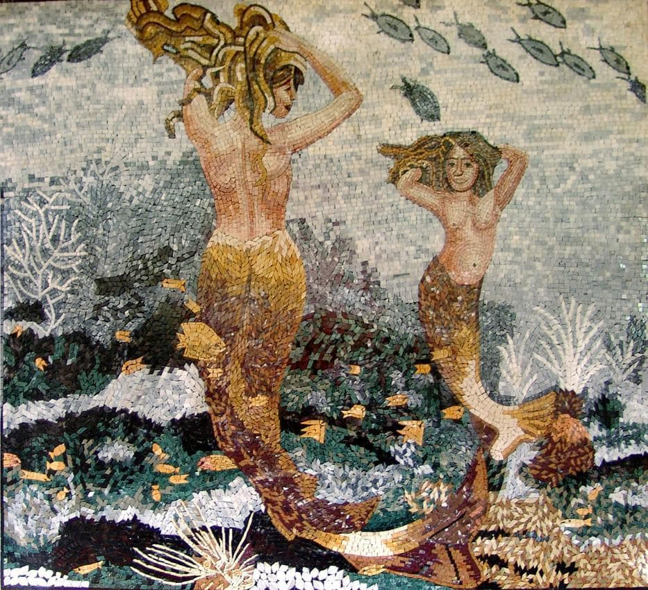 Dancing Mermaids Stone Art Mosaic