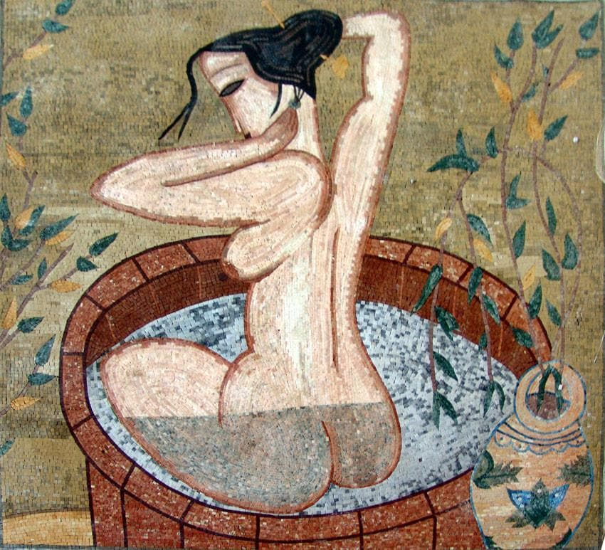 Old Bathing Nude Marble Mosaic Art Pic