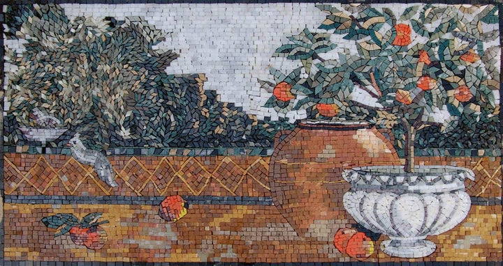 Orange House Near Amalfi Decorative Mosaic Art