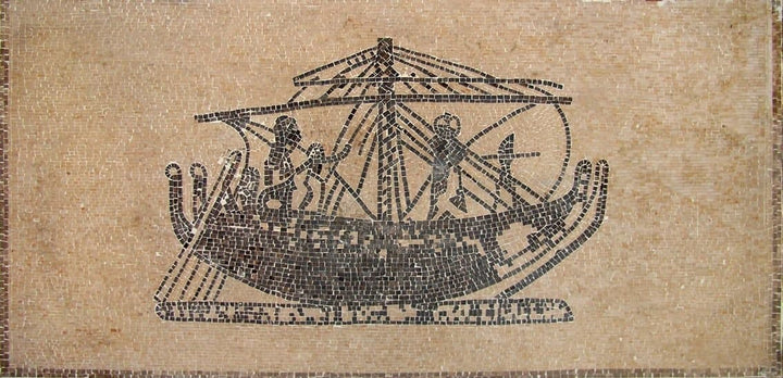 Phoenician Ship in Marble Mosaic