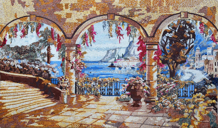 Balcony in Tuscan Mosaic Artwork