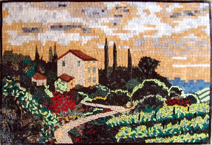 Vineyard  Natural Scene Tuscan Mosaic Mural