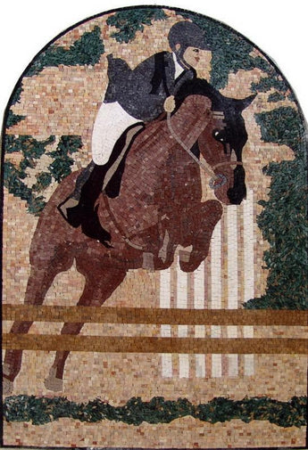 Horse Rider Arch Mosaic Marble