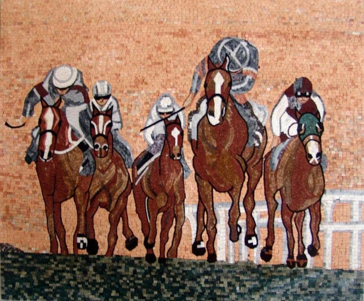 Horse Riding Mosaic Art