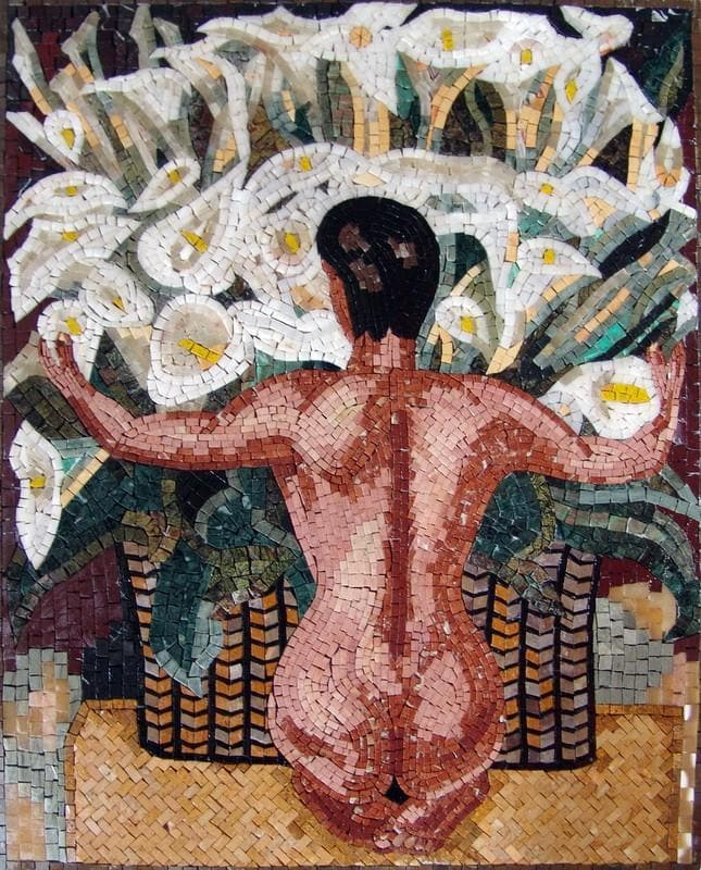 "Diego Rivera  Nude with Calla Lilies"" - Mosaic Reproduction """