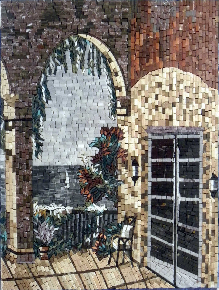 A ParT Of A Natural Tuscan Mosaic Mural Scene