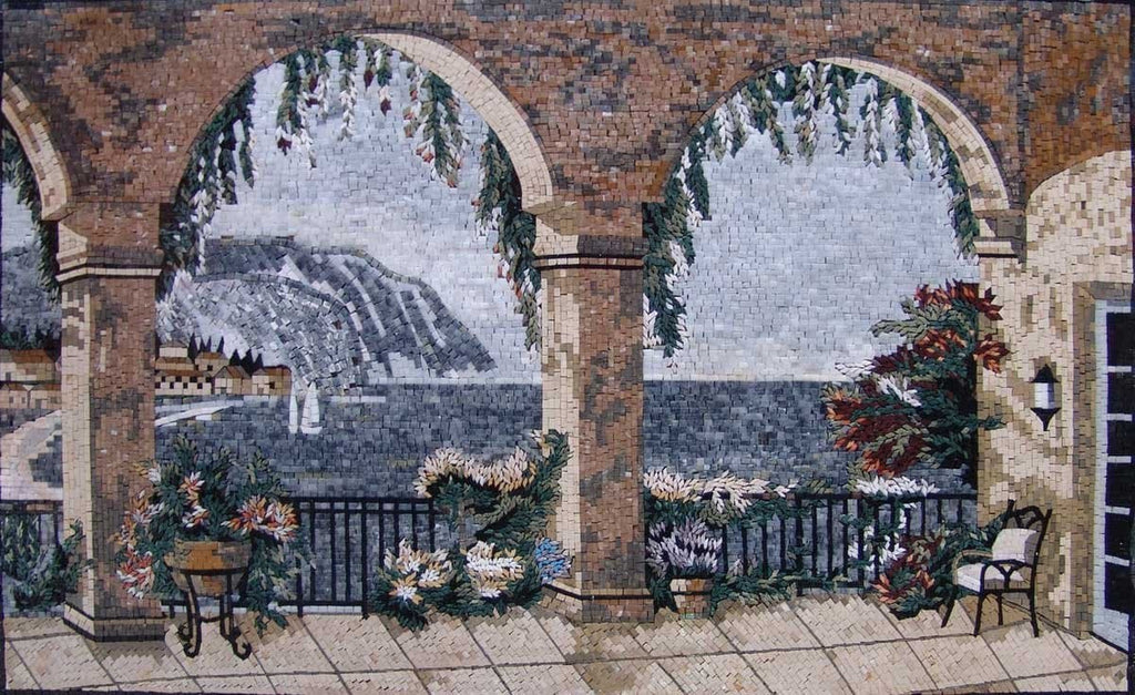 Sea View Natural Scene Stone Tuscan Mosaic Mural