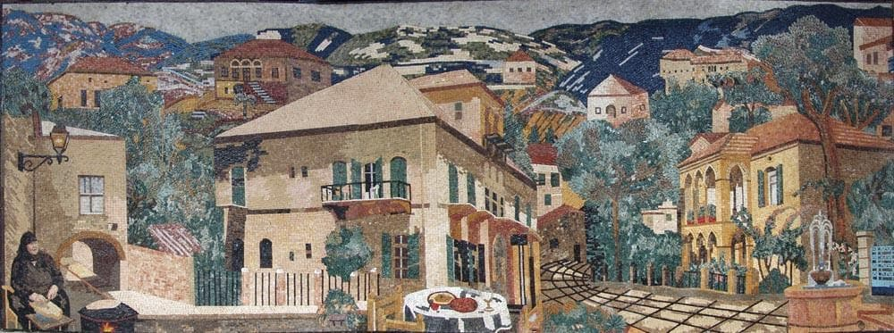 Beautiful Village Natural Scene Stone Mosaic Pic